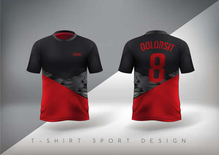 Soccer sport t-shirt design slim-fitting red and black with round neck. Vector illustration. 일러스트