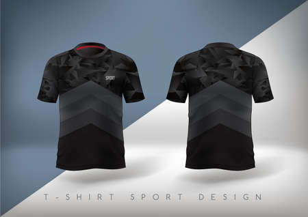 Soccer sport t-shirt design slim-fitting black with round neck. Vector illustration.