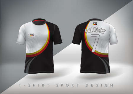Soccer sport t-shirt design slim-fitting with round neck. Vector illustration.