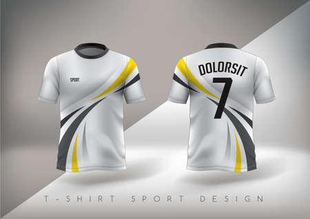 T-shirt sportiva da calcio dal design aderente con girocollo. Illustrazione vettoriale.