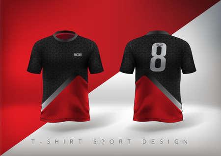 T-shirt sportiva da calcio dal design aderente rosso e nero con girocollo. Illustrazione vettoriale. Vettoriali
