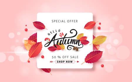 Autumn leaves background. Seasonal lettering.vector illustration.Promotion sale banner of autumn season. Illustration