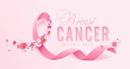 Ruban rose du mois de sensibilisation au cancer du sein d'octobre et fond d'affiche de printemps, illustration vectorielle