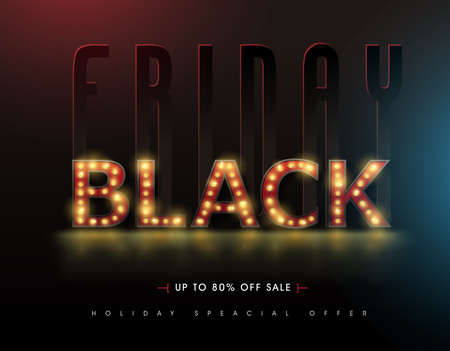 Retro light sign Black friday sale banner layout design template. Vector illustration