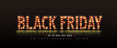 Retro-Glühbirnen unterzeichnen Black Friday Sale Banner-Layout-Design-Vorlage. Vektor-Illustration Vektorgrafik