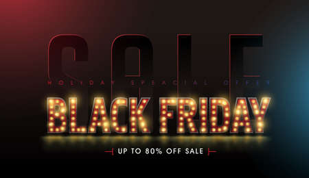 Retro light bulbs sign Black friday sale banner layout design template. Vector illustration