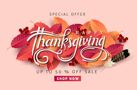 Thanksgiving day banner background. Celebration quotation for card.vector illustration.Autumn season Calligraphy of Thanksgiving.
