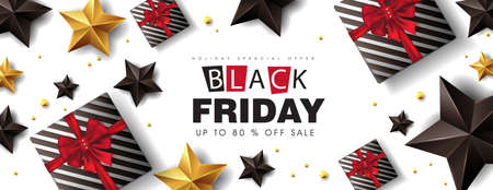 Black friday sale banner layout design template with gift box , black and gold stars. Vector illustration