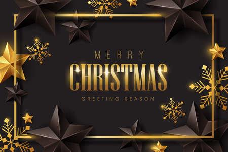Vector prettige kerstdagen en gelukkig Nieuwjaar achtergrondontwerp met sneeuwvlokken en sterren decoratie. Luxe wenskaart. Winter vector illustratie sjabloon. Vector Illustratie