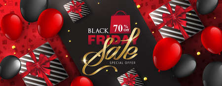 Black friday sale banner layout design template with gift box and balloons. Vector illustration