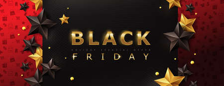 Black friday sale banner layout design template with stars. Vector illustration Ilustracja