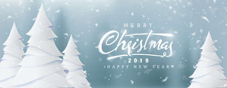 Merry Christmas and Happy New Year background for Greeting cards with christmas tree landscape and snowing paper art style.Calligraphy of christmas.Vector illustration. Vettoriali