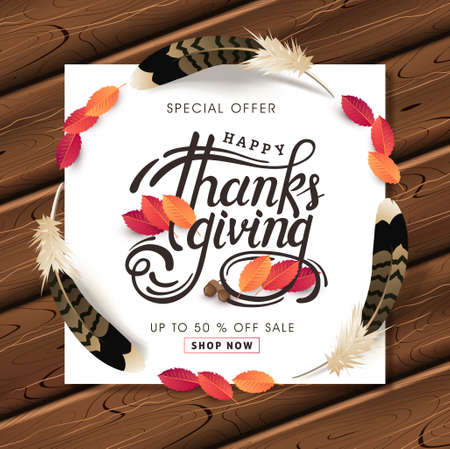 Thanksgiving day banner background. Celebration quotation for card.vector illustration. Calligraphic Thanksgiving lettering.