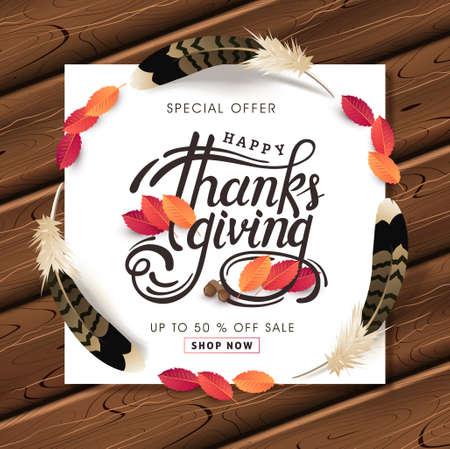 Thanksgiving day banner background. Celebration quotation for card.vector illustration. Calligraphic Thanksgiving lettering. Vector Illustration