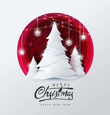 Hintergrund der frohen Weihnachten und des guten Rutsch ins Neue Jahr verziert mit Weihnachtsbaum- und Sternpapierschnittart. Glühende Lichter-Vektor-Illustration.