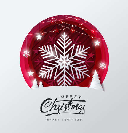 Merry christmas and happy new year background Decorated with Snowflake in forest and star paper cut style.Glowing lights Vector Illustration.