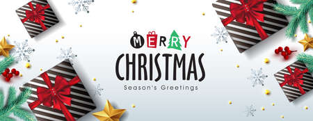 Vector Merry Christmas background design with Realistic tree Branches gift box and gold stars.