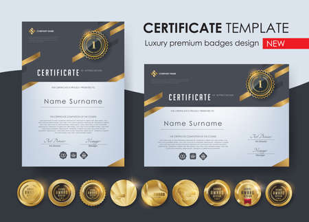 certificate template with modern pattern, diploma, Vector illustration and vector Luxury premium badges design, Set of retro vintage badges and labels. 向量圖像