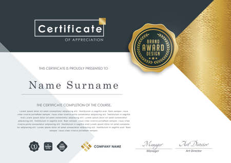 certificate template with luxury pattern, diploma, Vector illustration.