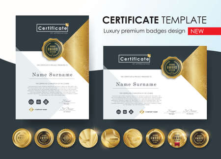 certificate template with modern pattern, diploma, Vector illustration and vector Luxury premium badges design, Set of retro vintage badges and labels.