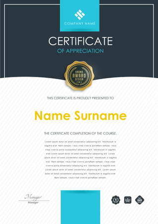 Certificate template with modern pattern, diploma, Vector illustration.