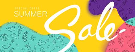 夏季销售背景布局横幅,墙纸,传单,邀请,海报,宣传册,优惠券折扣。矢量图模板。