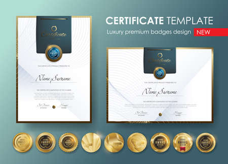 certificate template with Luxury pattern, diploma, Vector illustration and vector Luxury premium badges design, Set of retro vintage badges and labels.