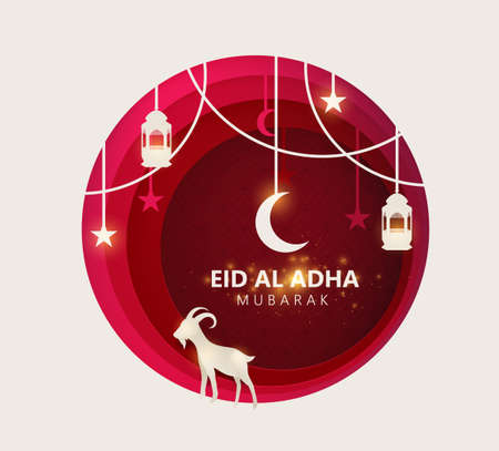 Eid Al Adha Mubarak the celebration of Muslim community festival background design with goat and star paper cut style. Vector Illustration 일러스트