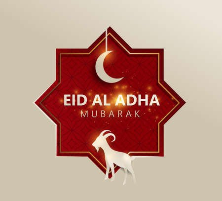 Eid Al Adha Mubarak the celebration of Muslim community festival background design with goat and moon paper cut style. Vector Illustration Stockfoto - 127123051