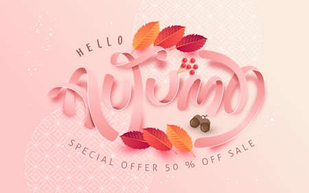 Autumn leaves background. Seasonal lettering.vector illustration.Promotion sale banner of autumn season. Stock Illustratie