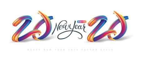 Calligrafia del nuovo anno 2020 con elemento di design con pennellate colorate a olio o vernice acrilica per biglietti di auguri, volantini, volantini, cartoline e poster. Illustrazione vettoriale.