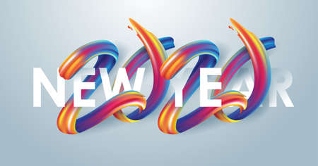 2020  New Year calligraphy with colorful brushstroke oil or acrylic paint design element for greeting card, flyers, leaflets, postcards and posters. Vector illustration.