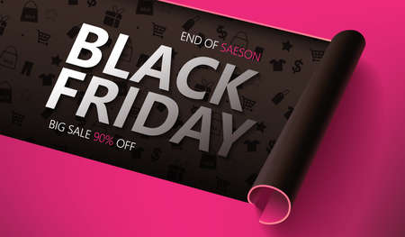 Black friday sale banner layout design template graphic abstract background. Vector illustration Ilustracje wektorowe
