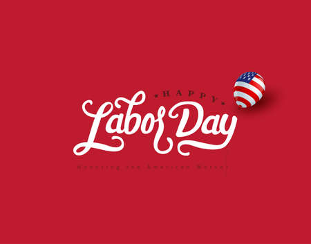 Happy labor day hand lettering  background banner template.Vector illustration . Standard-Bild - 129016578