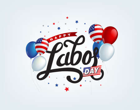 Happy labor day hand lettering background banner template.Vector illustration . Vector Illustration