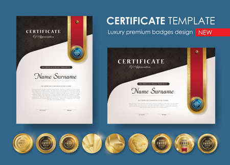 certificate template with  Luxury pattern, diploma, Vector illustration and vector Luxury premium badges design,Set of retro vintage badges and labels. Иллюстрация