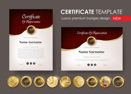 certificate template with  Luxury pattern, diploma, Vector illustration and vector Luxury premium badges design, Set of retro vintage badges and labels. 向量圖像