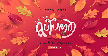 Autumn calligraphy. Seasonal lettering. autumn sale banner background. vector illustration