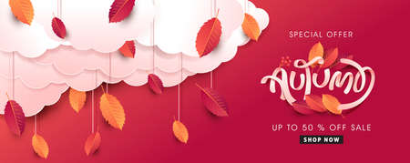 Autumn leaves background. Seasonal lettering. vector illustration. Promotion sale banner of autumn season.