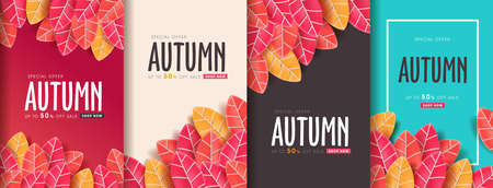 Autumn leaves background. vector illustration.Promotion sale banner of autumn season. Иллюстрация