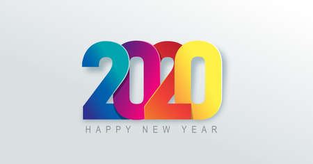 2020 Happy New Year background. 2020 Number paper art Text Design. Vector holiday illustration.