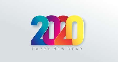 Fond de bonne année 2020. Conception de texte d'art en papier numéro 2020. Illustration de vacances de vecteur.