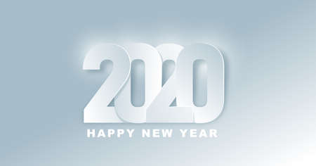 2020 Happy New Year background. 2020 Number paper art Text Design. Vector holiday illustration. Иллюстрация