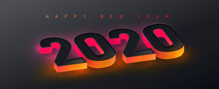 2020 Happy New Year background. 2020 Number neon effect Text Design. Vector holiday illustration. Illusztráció