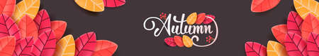 Autumn calligraphy. Seasonal lettering. autumn leaf  banner background. vector illustration