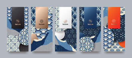 Vector set packaging templates japanese of nature luxury or premium products. logo design with trendy linear style. voucher, flyer, brochure. Menu book cover japan style vector illustration.
