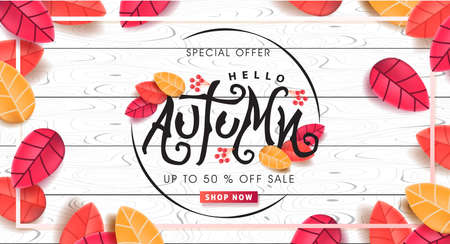 Autumn calligraphy on white wood. Seasonal lettering. autumn sale  banner background. vector illustration Иллюстрация