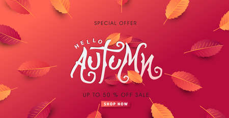Autumn calligraphy. Seasonal lettering. autumn sale  banner background. vector illustration Stock Vector - 129764331
