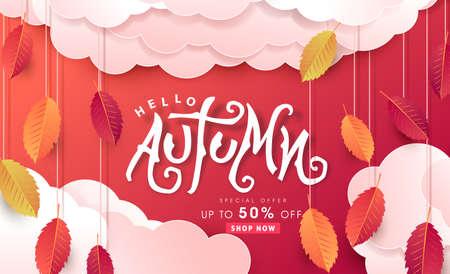 Autumn calligraphy. Seasonal lettering. autumn sale  banner background. vector illustration