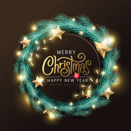 Merry Christmas and Happy New Year background banner. Merry Christmas vector text Calligraphic Lettering Vector illustration. Vector Illustratie